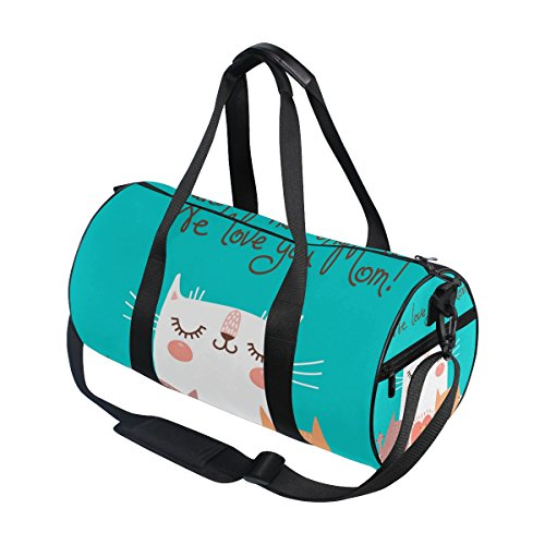 U LIFE Happy Mother Day Cute Cat Love Mom Sports Gym Shoulder Handy Duffel Bags for Women Men Kids Boys Girls by ALAZA (Image #2)