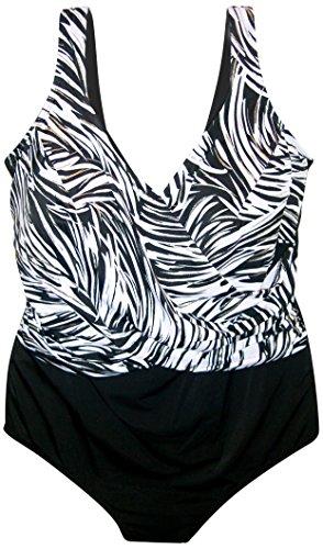 Longitude Women's Plus Size One Piece Swimsuit Zebra (22W, Black)