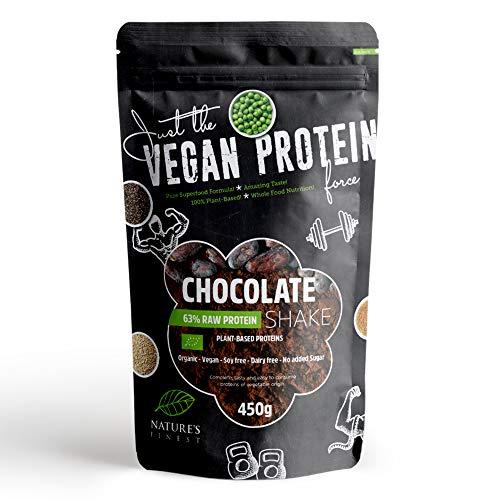 Nature's Finest Organic Vegan Chocolate 63% Protein Shake Powder, 450gm