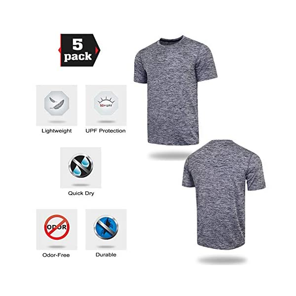 5 Pack Men's Active Quick Dry Crew Neck T Shirts   Athletic Running Gym Workout Short Sleeve Tee Tops Bulk 15