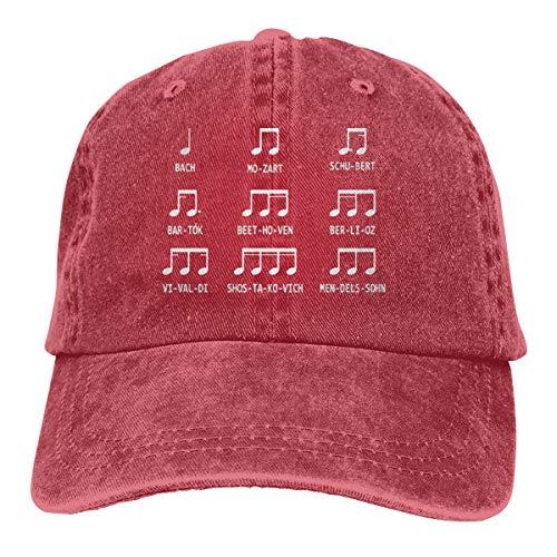 Adult Fashion Cotton Denim Baseball Cap Notes Music Classic Dad Hat Adjustable Plain Cap Red -