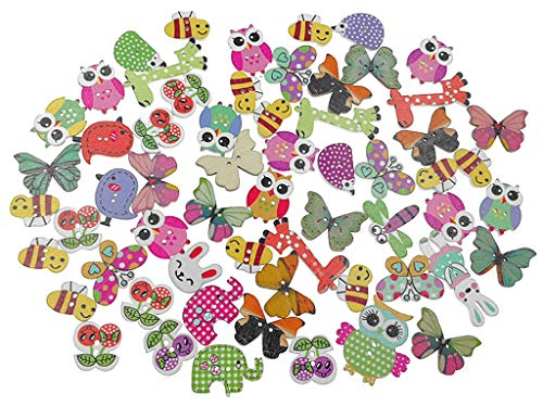 - Kinteshun Wooden Buttons Natural Wood 2-Holed Fastener Buttons for Sewing Knitting Handcraft(100pcs,Assorted Cartoon Animals Printing Patterns)