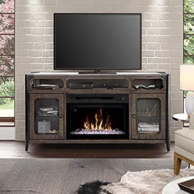 Dimplex Electric Fireplace, TV Stand, Media Console and Entertainment Center with Multiple Storage Cabinets and Shelves, Realistic Logs and Colorful Flames in Noir Brown Finish - Paige #GDS25GD-1858NB