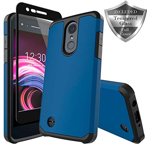 LG Zone 4 Case,LG Aristo 2/3, LG Phoenix 4, LG Tribute Empire/Dynasty SP200,LG Fortune 2,LG Risio 3,LG K8 (2018) Case, SWODERS Heavy Duty Shockproof with Tempered Glass Screen Protector Case - Blue ()
