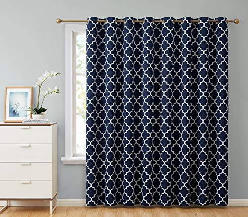 HLC.ME Lattice Print Thermal Insulated Blackout Room Darkening Energy Efficient Patio Door Window Curtain Panel for Sliding Glass Doors - Navy Blue - 100