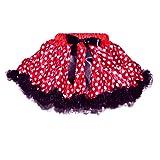 GoForDance Toddler-Girls Red-White Polka Dot Theme Costume Tutu With Bow & Ruffle Trim