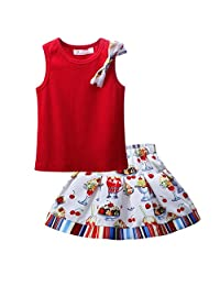 Pettigirl Girls 2 Piece Clothing Set Red Tank Top and Painting Skirt