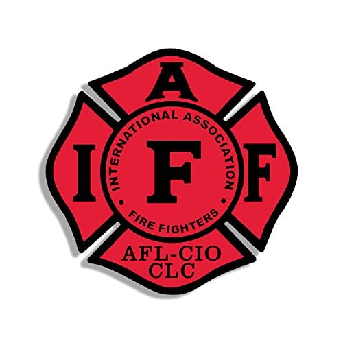 American Vinyl Black & RED Maltese Shaped IAFF AFL CIO Sticker (fire Firefighter Logo) for cheap