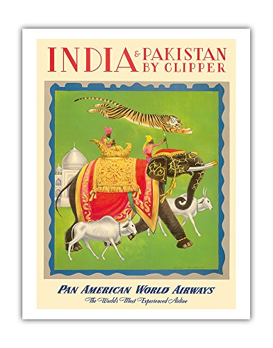 India and Pakistan by Clipper - Pan American World Airways PAN AM - Vintage Airline Travel Poster by Charles Baskerville c.1949 - Fine Art Print - 11in x 14in