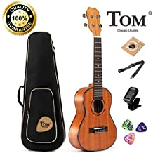TOM Soprano Ukulele TUS-200 has African Mahogany Top with Gig Bag, Spare Aquila Strings, Tuner, Pick and Belt - 26inch