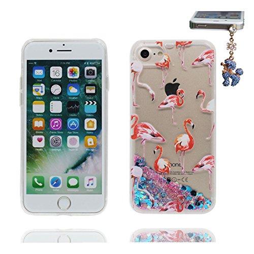 Coque iPhone 7, Cover étui pour iPhone 7 4.7 pouces, Bling Glitter Fluide Liquide Sparkles Étoile Paillettes Flowing Brillante, iPhone 7 Case, Grand Flamant anti-chocs et Bouchon anti-poussière