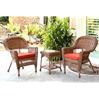 Jeco W00205_2-CES018 3 Piece Wicker Chair and End Table Set with Red Orange Cushion, Honey