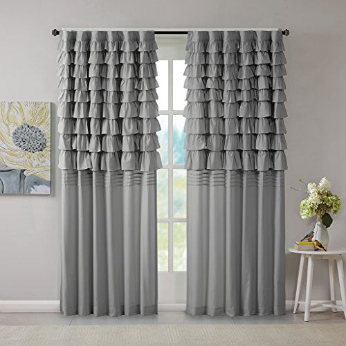 Intelligent Design Grey Curtains for Living Room, Casual Rod Pocket Ruffle Window Curtains for Bedroom, Solid Waterfall Back Tab Fabric Window Curtains, 50X63, 1-Panel Pack