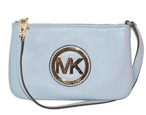 Michael Kors Fulton Leather Wristlet Bag Purse Pale Blue