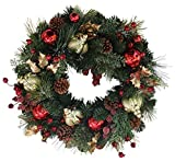 Queensbury Decorated Christmas Wreath 22 Inch - All Weather Outdoor Artificial Wreath That Lasts For Years, Handmade Designer Quality Enriches Entry, Beautiful White Gift Box And Hanging Loop Included