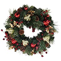 Queensbury Decorated Christmas Wreath 22 Inch - Handmade Designer Quality Enriches Entry, Approved for Covered Outdoor Use, with Beautiful White Gift Box
