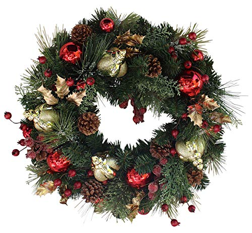 (The Wreath Depot Queensbury Decorated Christmas Wreath, 22 Inch)