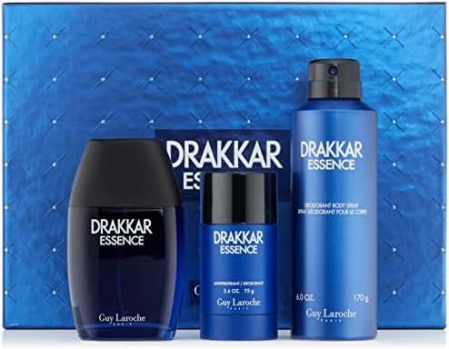 Guy Laroche Drakkar Essence Eau de Toilette Spray 3.4 Fl Oz,Deodorant Stick and Body Spray Gift Set