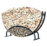 ShelterIt Double Rounded Firewood Log Rack with Kindling Wood Holder and Waterproof Cover, 8', Black