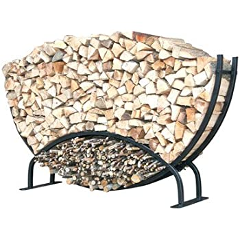 this item shelterit double rounded firewood log rack with kindling wood holder and waterproof cover 8u0027 black