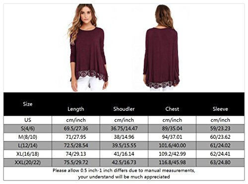 FISOUL Women's Tops Long Sleeve Lace Trim O-Neck A-Line Tunic Tops by FISOUL (Image #3)