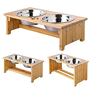 FOREYY Raised Pet Bowls for Cats and Dogs, Bamboo Elevated Dog Cat Food and Water Bowls Stand Feeder with 2 Stainless Steel Bowls and Anti Slip Feet 4