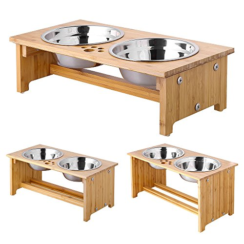 FOREYY Raised Pet bowls for Cats and Small Dogs - Bamboo Elevated Dog Cat Food and Water Bowls Stand Feeder with 2 Stainless Steel Bowls and Anti Slip Feet - Patent Pending (4'' Tall - Large bowl) (Dish Pet Elevated)
