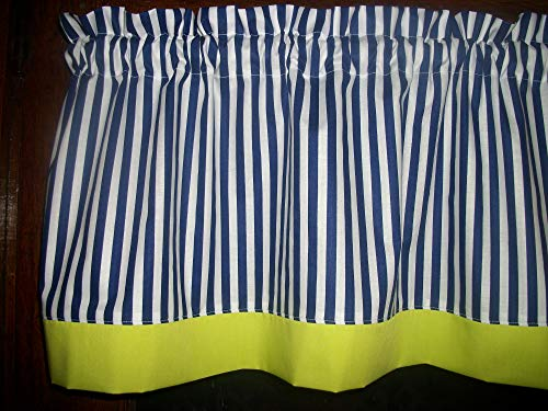 Navy Blue Lime Green White Chartreuse Striped Nautical topper curtain Valance