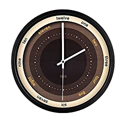 """Artistry Clock-Modern Decorative 12"""" Silent Non-Ticking Wall Clock And Fashionable Style Design Quartz Round Clock With Stoving Varnish Finished Metal Frame,Battery Operated (Coffee, Black)"""