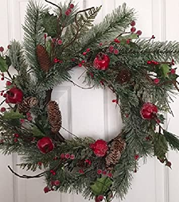 Adirondack Crabapple Winter Wreath 22 Inches Handcrafted With Bright Red Apples Artificial Greens And Pine Cones Hang On The Front Door For The Winter Holiday Season