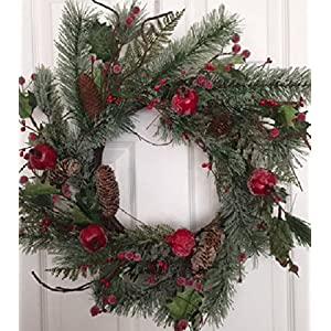 Adirondack Crabapple Winter Wreath 22 Inches Handcrafted With Bright Red Apples Artificial Greens And Pine Cones Hang On The Front Door For The Winter Holiday Season 54