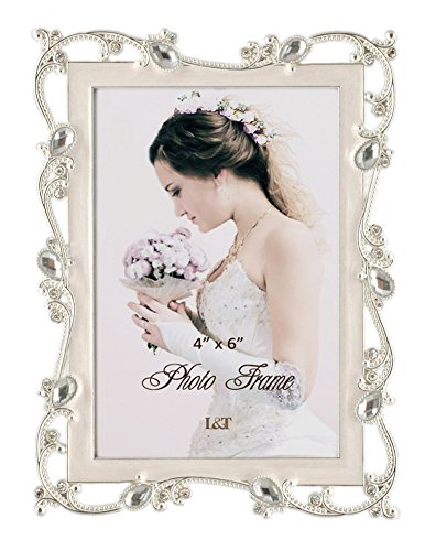 L&T Metal Picture Frame Silver Plated with Cream White Enamel and Jewels 4x6 Inch, Ideal Anniversary Wedding Mother's Day Gift Photo Frame
