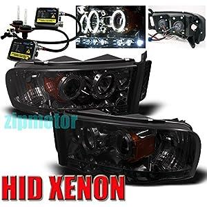 2002-2005 Dodge Ram Halo LED Projector Headlights with 6000K HID Conversion Kit - Smoke