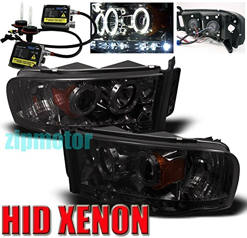 2002-2005 Dodge Ram Halo LED Projector Headlights with 6000K HID Conversion Kit - Smoke -