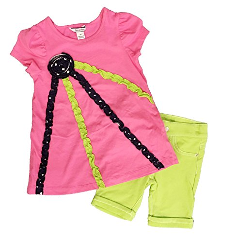 Childrens Clothing Hartstrings - Hartstrings Girls 2 Piece Outfit Set-Shirt and Shorts (5, Pink/Green)