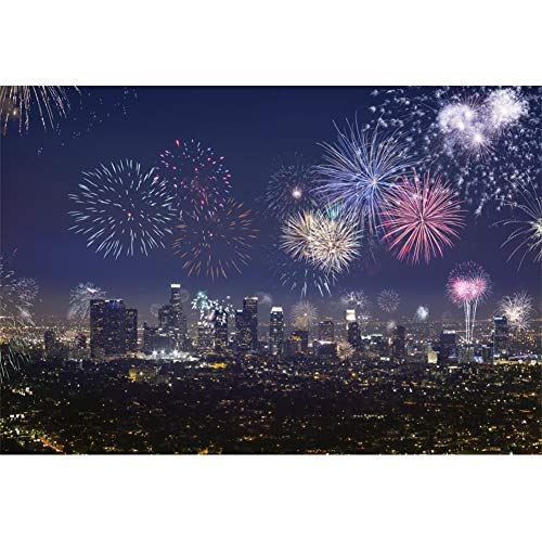 CSFOTO Happy Independence Day Backdrop 10x7ft Photography Background Celebrations 4th of July Party Backdrop Fireworks City Night View Labor Day Veterans Day Kids Adults Portraits Photo Wallpaper]()
