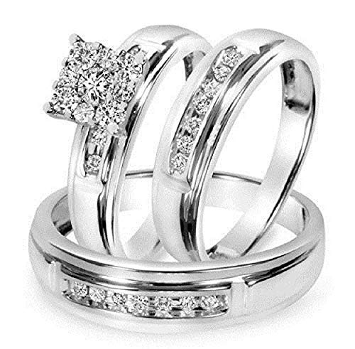 Diamond Scotch Square Men and Women Couple His & Hers Trio Three Ring Square Bridal Matching Engagement Wedding Trio Ring Set 14k White Gold Plated