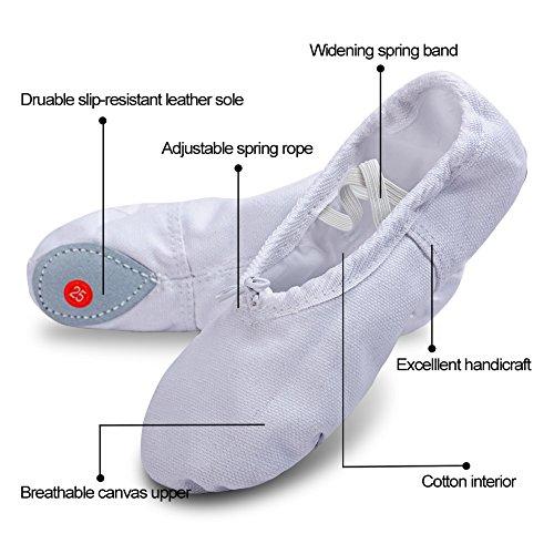 Split Ballet Flat Slipper Yoga Shoes Shoes Shoes Sole Gymnastics White Ballet Pointe Canvas Slipper Dancing Ballet Practice prIr7q1