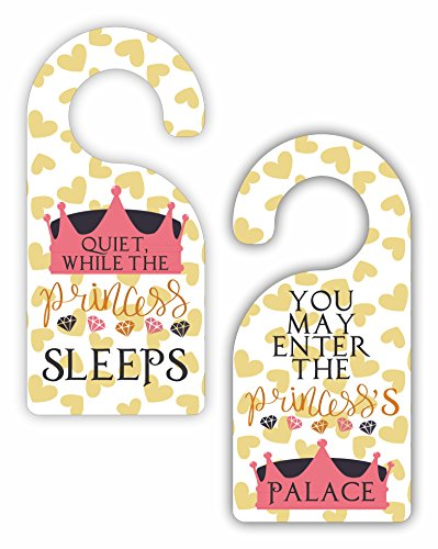(Max Wilder Quiet While the Princess Sleeps - You May Enter the Princess's Palace - Novelty Girls Room Door Sign Hanger - Double-Sided - Hard Plastic - Glossy Finish)