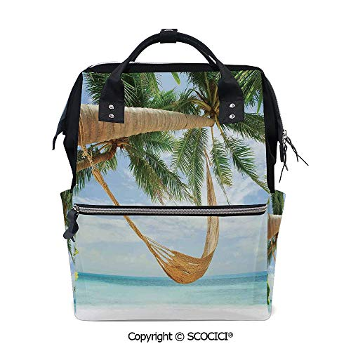 SCOCICI Travel Backpack Large Diaper Bag,View of Nice Hammock with Palms by the Ocean Sandy Shore Exotic Artsy Print Decorative,with Wide Style Top Opening
