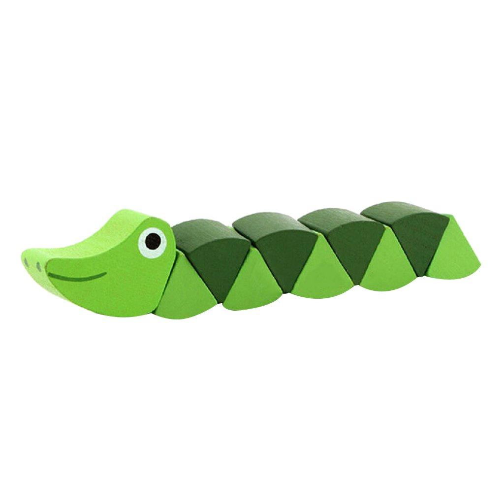 MonkeyJack Colored Twist Cocodile Alligator Wooden Baby Kids Creative Educational Toys