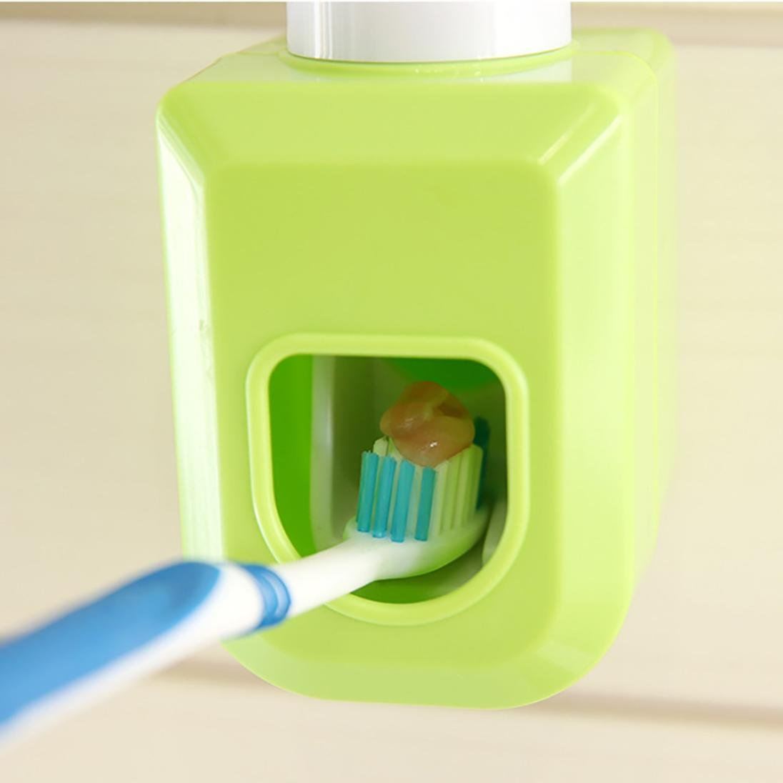 Dreamyth Automatic Auto Squeezer Toothpaste Dispenser Hands Free Squeeze Out Practical (Green)