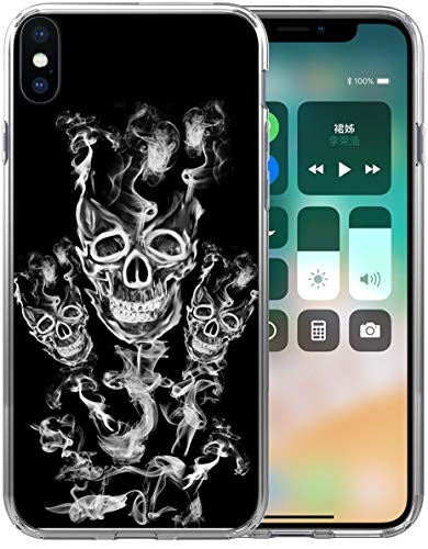 signer Rubber Durable Protective Skin Transparent Cover Shockproof Compatible for iPhone Xs Max [X Max] 2018 6.5 Inches Cool Skull Smoke Design ()