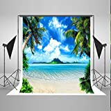 5x7ft Sea and Beach Backgrounds Blue Sky White Cloud Photo Backdrops Nature Scenery Backdrop