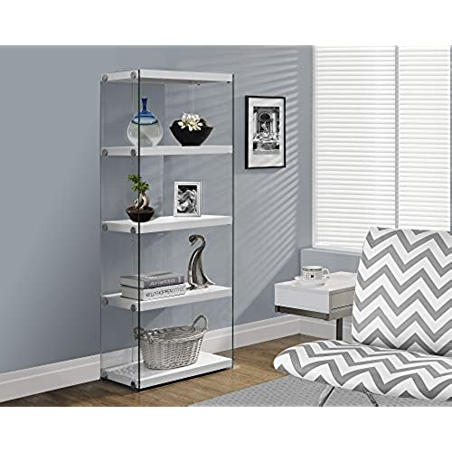 monarch specialties i 3289 bookcase tempered glass glossy white 60h - Glass Covered Bookshelves