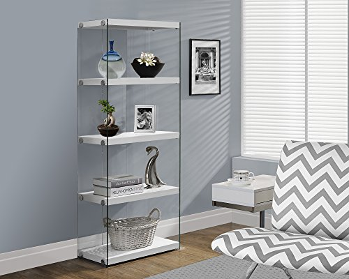 Cabinet Silver Bookcase - Monarch specialties I 3289, Bookcase, Tempered Glass, Glossy White, 60