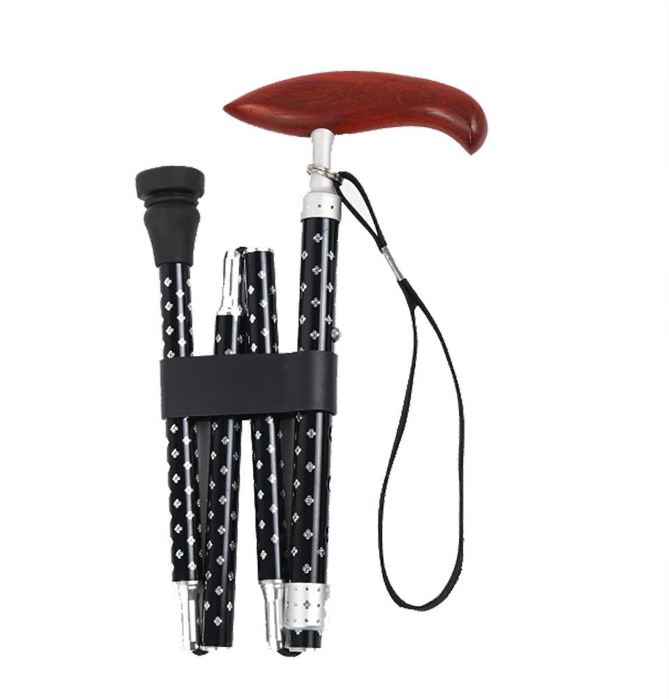 Black YAO Travel Adjustable Folding Canes and Walking Sticks for Men and Women