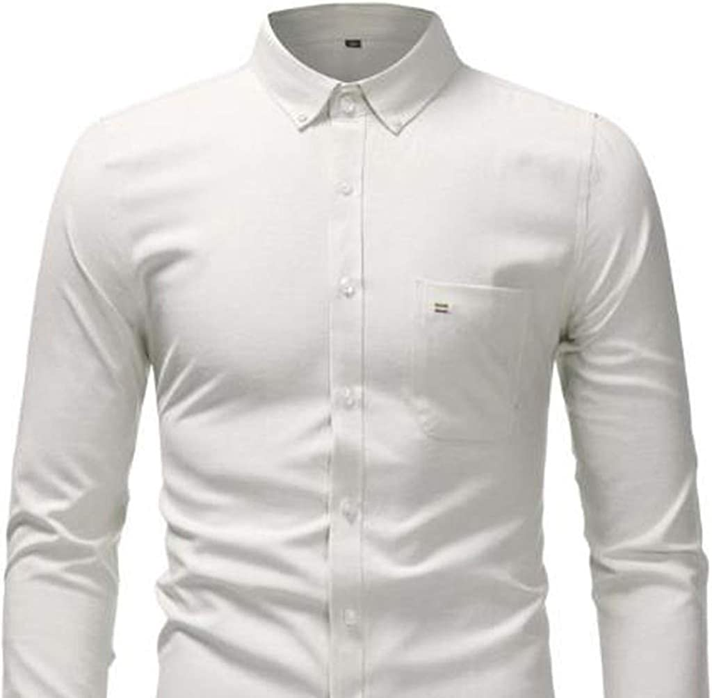 XQS Mens Business Fleece-Lined Long Sleeve Thick Slim Button Front Shirts