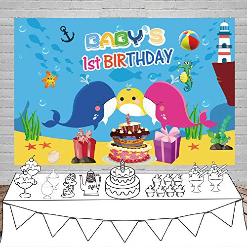 Laeacco Babys 1st Birthday Party Backdrop 7X5ft Vinyl Photography Background Undersea World Cartoon Baby Whale Backdrop Shark Starfish Yellow Pink Blue Color Cake Gifts Birthday Decoration Children