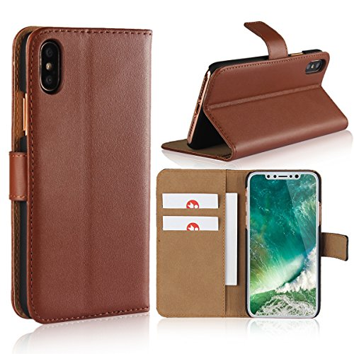 HAOHUI iPhone XR Lifeproof Cases, Premium PU Leather Folio Flip Case Cover Lightweight with Credit Card Slots & Ultra-Strong Magnetic Closure for Apple iPhone XR 6.1 Inch (Brown)